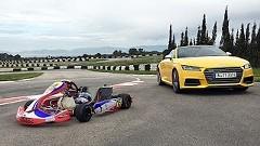 アウディ TTS ロードスター vs レーシングカート サーキット対決動画