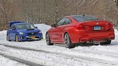 スバル WRX STI vs BMW M4 雪の綱引き対決動画