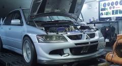シャシダイでパワー計測中の三菱 ランエボ8がエンジンブローしちゃう動画