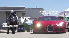 310馬力 カワサキ Ninja H2R vs 1200馬力 ブガッティ ヴェイロン SS ハイパーモデル同士の加速対決動画