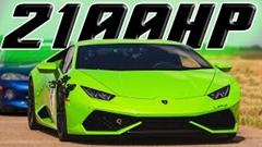 2100馬力 ランボルギーニ ウラカン vs 2000馬力 日産 GT-R 加速対決動画