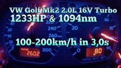 1233馬力のフォルクスワーゲン ゴルフ 100-200km/h超絶加速メーター動画