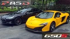 テスラ モデルS P85 vs マクラーレン 650S スパイダー 加速対決動画