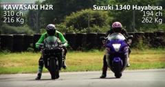 カワサキ Ninja H2R vs BMW 1000RR、スズキ ハヤブサ 加速対決動画