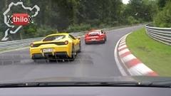 ルノー メガーヌ R.S.  vs ポルシェ 991 GT3 RS vs フェラーリ 458 スペチアーレ ニュルバトル動画