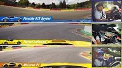 マクラーレン P1 vs フェラーリ ラ・フェラーリ vs ポルシェ 918 スパイダー スパラップ同時比較動画