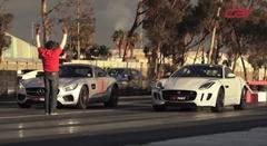 メルセデス AMG GT S vs ジャガー F-Type R AWD ゼロヨン加速対決動画