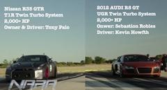 2000馬力超 日産 GT-R vs 2000馬力超 アウディ R8 GT 超ハイパワーチューンドドラッグレース動画