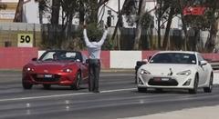 マツダ 新型ロードスター vs トヨタ 86 ゼロヨン加速対決動画