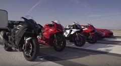 マクラーレン P1 vs シボレー コルベット Z06 vs BMW S1000RR vs カワサキ Ninja H2 vs ヤマハ YZF-R1M vs ドゥカティ 1299 パニガーレS 加速対決動画