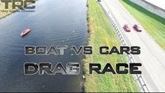 パワーボート vs スープラ vs ランエボ 異種ドラッグレース動画