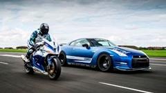 1200馬力 日産 GT-R vs 205馬力 カワサキ ニンジャ ZX-10R 加速対決動画