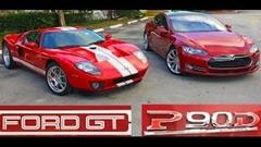 テスラ モデルS P90D vs 700馬力 フォード GT 加速対決動画
