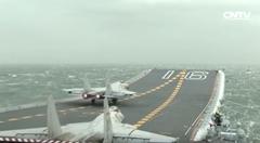 空母上で戦闘機の発着艦を訓練する中国軍動画