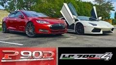 テスラ モデルS P90D vs ランボルギーニ アヴェンタドール 加速対決動画