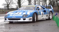農場でフェラーリ F40 GT がジムカーナしちゃう動画