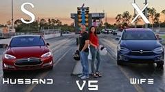 テスラ モデルX P90D vs モデルS P90D ゼロヨン加速対決動画