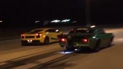 1100馬力のランボルギーニ ガヤルドとマジもんドラッグカーが加速対決してみた動画