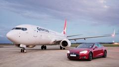 カンタス航空 ボーイング737 vs テスラ モデルS P90D 加速対決動画