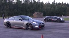 日産 GT-R ニスモ vs ブガッティ ヴェイロン 加速対決動画