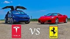 テスラ モデルX P90D vs フェラーリ F430 スパイダー 加速対決動画
