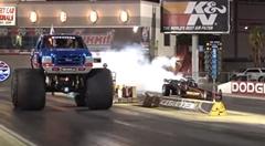 モンスタートラック vs ジェットカー 加速対決動画