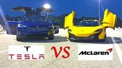 テスラ モデルX P90D vs マクラーレン 650S 加速対決動画