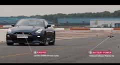 0-100km/h 1.3秒 激速ドローン vs 日産 GT-R サーキット対決動画