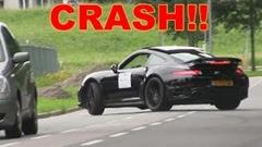 カッコつけたポルシェ 991 ターボSがクラッシュしちゃう動画
