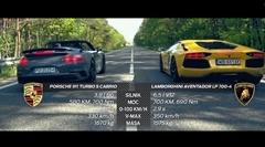 ポルシェ 991 ターボS カブリオレ vs ランボルギーニ アヴェンタドール 加速対決動画