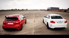 BMW M2 vs メルセデス AMG A45 ゼロヨン加速対決動画