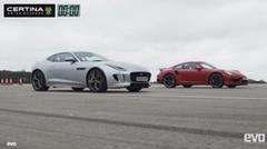 ポルシェ 991 ターボS vs ジャガー F-TYPE R AWD 加速対決動画