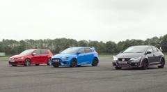 ホンダ シビック タイプR vs フォード フォーカスRS vs フォルクスワーゲン ゴルフR ドラッグレース動画