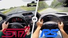 フォード フォーカス RS vs スバル WRX STI  0-250km/h 加速対決メーター動画