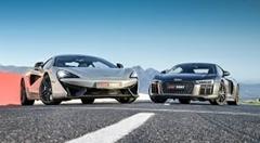 アウディ R8 V10 Plus vs マクラーレン 570S ドラッグレース対決動画