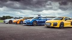 日産 GT-R vs マクラーレン 570S vs ポルシェ 991 ターボS vs アウディ R8 V10 Plus ドラッグレース対決動画