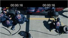 3人 vs 1人 F1タイヤ交換スピード比較動画