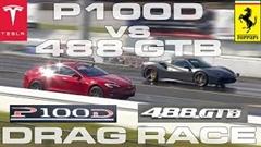 テスラ モデルS P100D vs フェラーリ 488 GTB スパイダー ゼロヨン加速対決動画