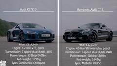 メルセデス AMG GT S vs アウディ R8 V10 ドラッグレース対決動画