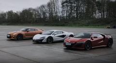 新型ホンダ NSX vs 日産 GT-R vs マクラーレン 540C 0-1000m加速対決動画