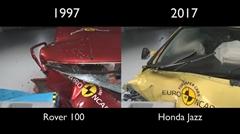 20年前のローバー100と現行ホンダ フィットのクラッシュテスト比較動画