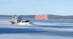 氷の張ったミシガン湖を車で渡るよ → 沈没