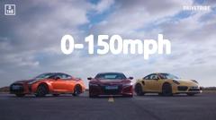 ホンダ NSX vs 日産 GT-R vs ポルシェ 991 ターボS 0-240km/h 加速対決動画