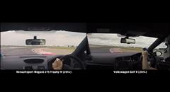 ルノー メガーヌ RS 275 トロフィーR vs フォルクスワーゲン ゴルフR ホットハッチサーキット比較動画