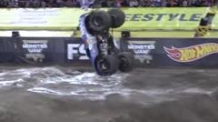 四輪車でフロントフリップのやり方がわかるモンスタートラック超絶スゴ技動画