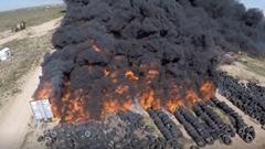 タイヤ火災の現場をドローンで上空から撮影してみた