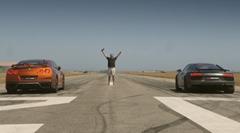 日産 GT-R vs アウディ R8 V10 Plus ドラッグレース動画