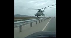 高速道路スレスレを飛んじゃう超低空飛行ヘリコプター