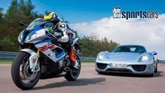 ポルシェ 918 スパイダー vs BMW S1000RR 加速対決動画