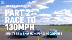 ポルシェ 718 ケイマンS vs BMW M2 vs アウディ TT RS 0-130mph 加速対決動画